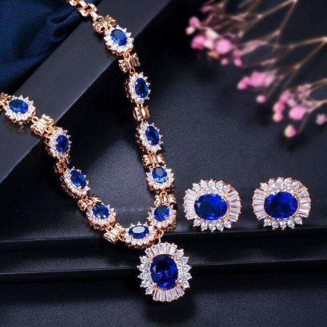 Фото набор свадебных украшений cwwzircons круглые серьги и ожерелье цена