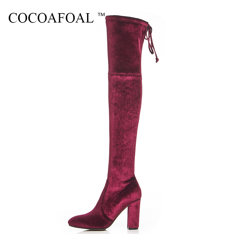 COCOAFOAL Winter Women's Over The Knee Boots Sexy Woman High Heeled Shoes Plus Size 33 41 Black Genuine Leather Thigh High Boots cocoafoal women sexy black high heeled shoes genuine leather thigh high boots plus size 33 41 winter chelsea over the knee boots