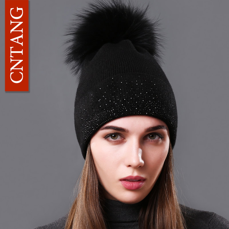 CNTANG Winter Fashion Women Hats 100% Raccoon Fur Beanie Female Warm Pompom Cap Decorated With Diamond Caps Autumn Knitted Hat