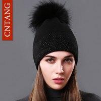 CNTANG Winter Fashion Women Hats 100 Raccoon Fur Beanie Female Warm Pompom Cap Decorated With Diamond