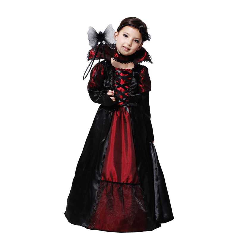 children vampire costumes halloween costume for kid long dress with hair band carnival party stage show - Cheap Costume For Halloween