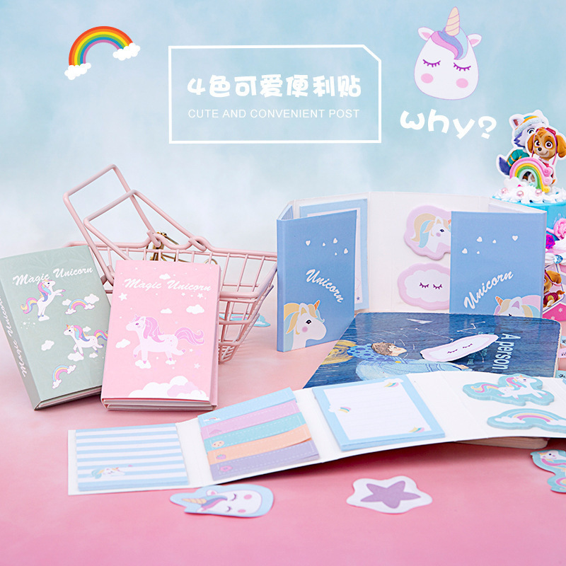 Creative Student Stationery Unicorn Post Messages Pad Stickers Memo Notes Set