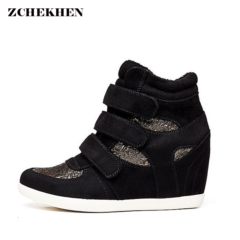 Black Gold Women Sneakers High Top Hidden Wedges Casual Shoes Basket Femme Ankle Boots Shoes for Women Hook & Loop Zapatos Mujer все цены