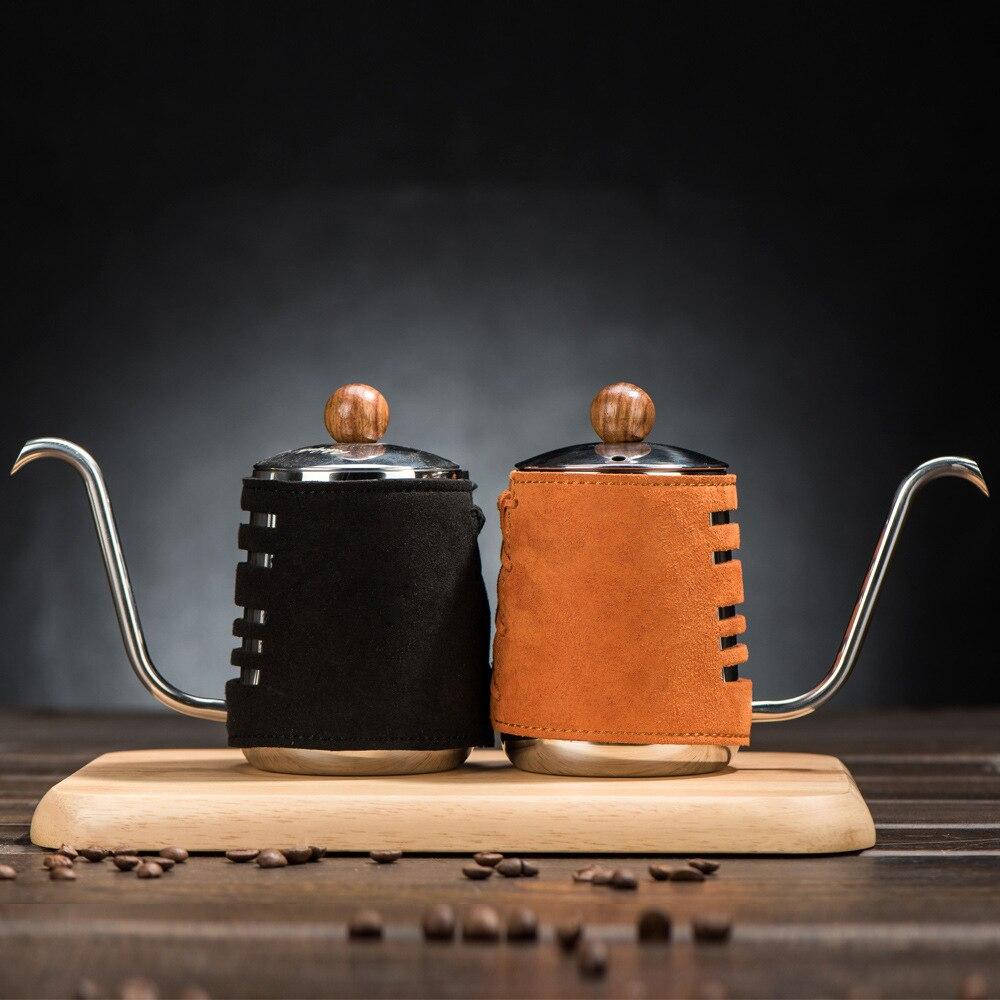 Bouilloire d'égouttement à main en acier inoxydable avec bec à col de cygne Extra étroit et emballage en cuir synthétique 300 ml 500 ml-in Café Pots from Maison & Animalerie    1