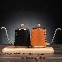 Edelstahl Hand Drip Wasserkocher mit Extra Verengt Schwanenhals Auslauf und Synthetische Leder Verpackung 300 ml 500 ml Kaffeepott    -