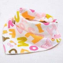 Купить с кэшбэком Cute Pure Cotton Newborn Baby Bibs & Burp Cloths White Printing Pattern Cheap Neckerchief Kids Infant Food Meal Cartoon Bandana