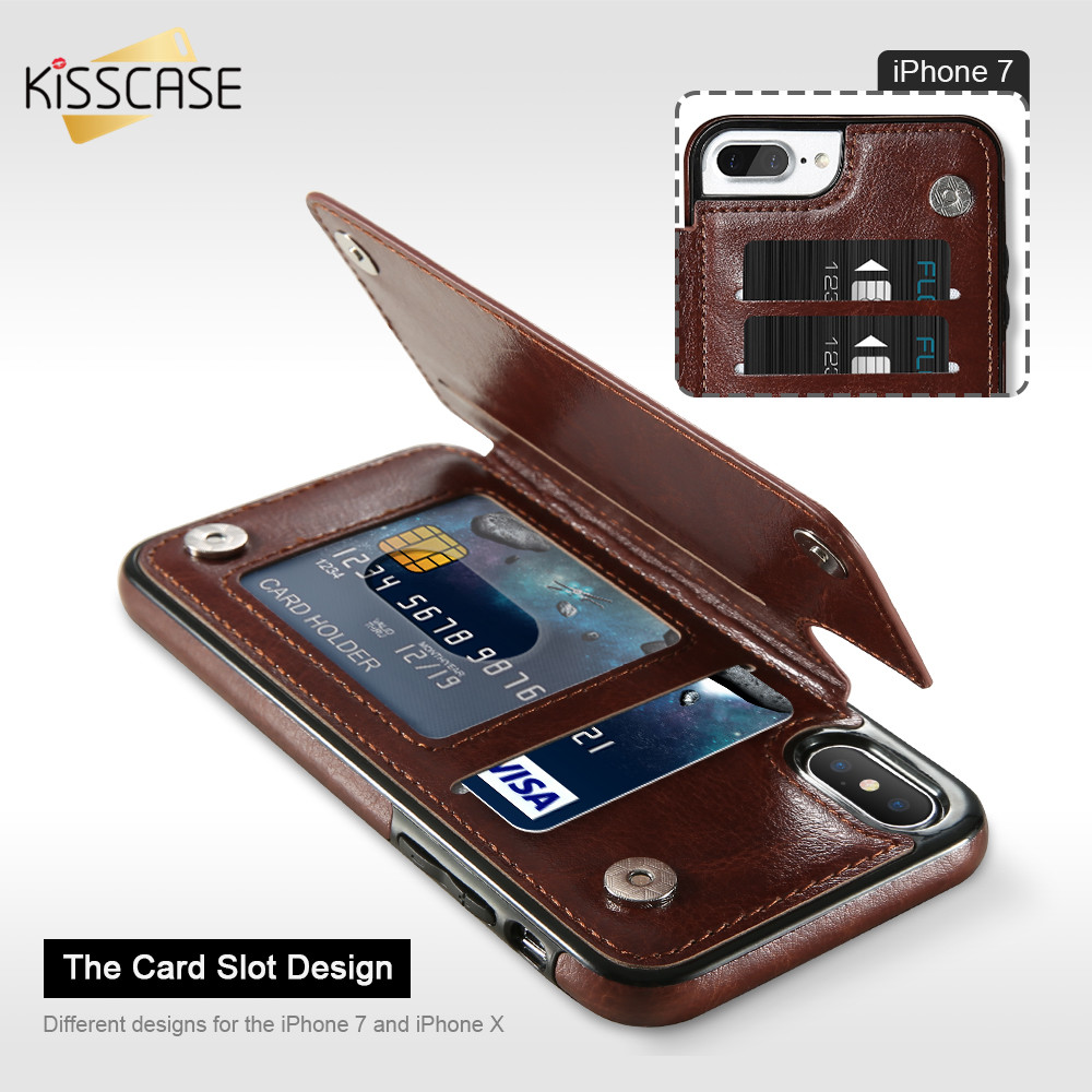 KISSCASE Luxury Flip Leather Wallet Case For iPhone X XR