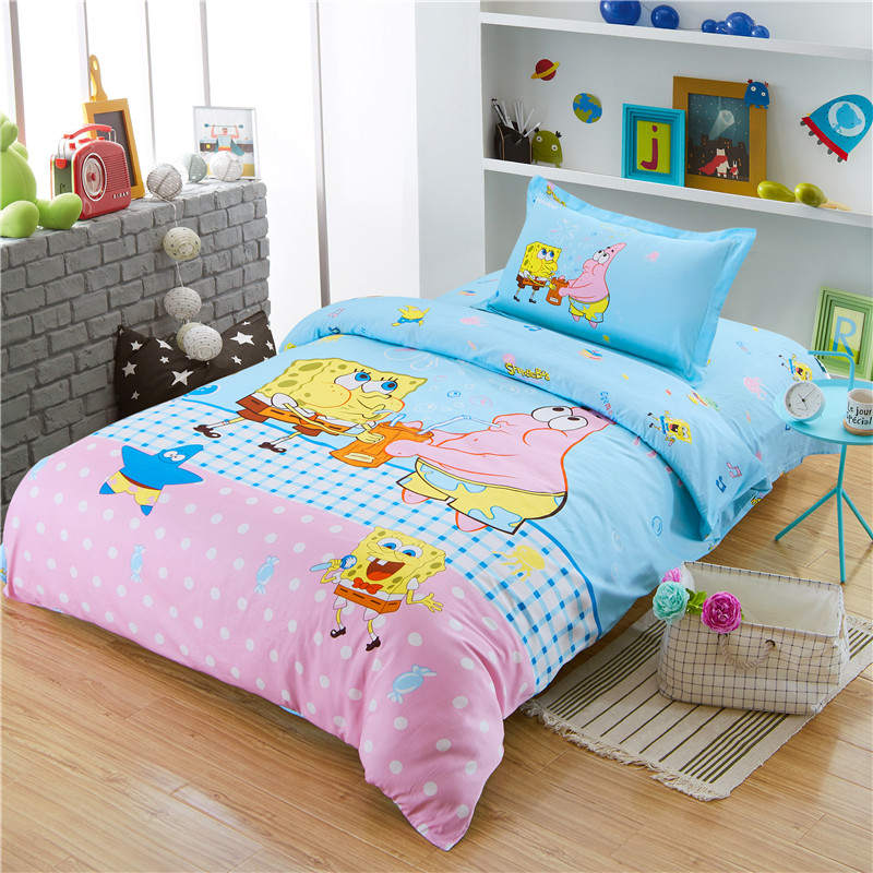 Spongebob Bedspreads Bedding Sets 100 Cotton Bed Sheets Covers Single Twin Double Size Babys Girls Children S Bedroom Blue Pink