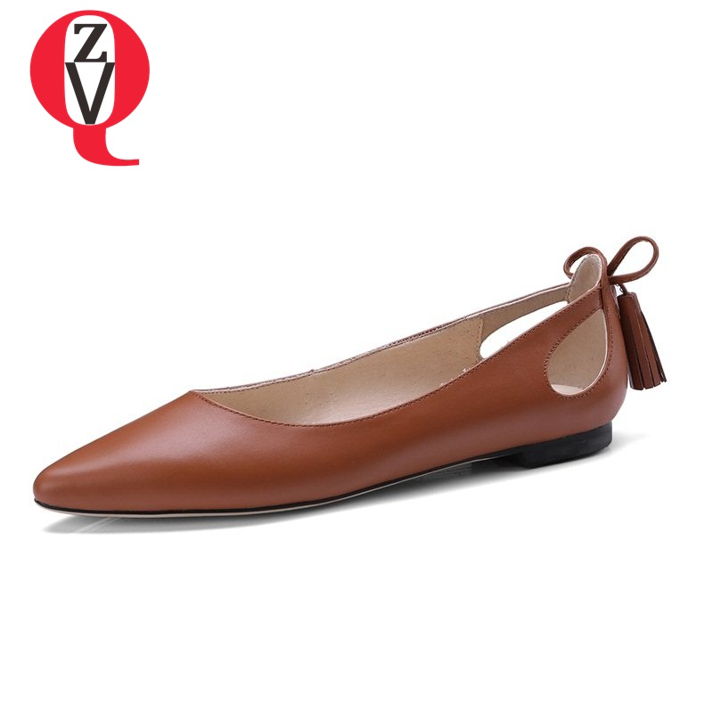 ZVQ 2018 hot sale hollow out women shoes skid resistance bowtie genuine leather pointed toe solid low heels spring pumps