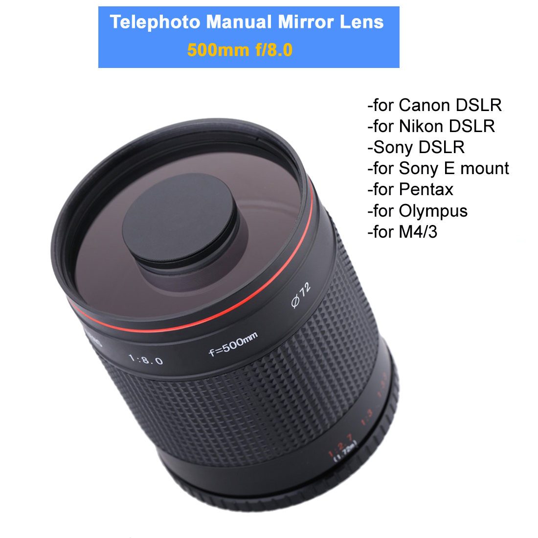 500mm F/8.0 Camera Telephoto Manual Mirror Lens+T2 Mount Adapter for Canon Nikon Pentax Olympus Sony A6500 A7RII M4/3 GH5 DSLR