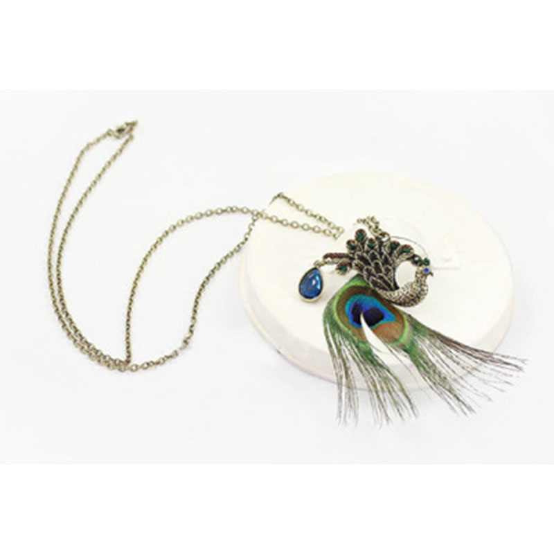 BohoBohemian Crystal Necklaces Long Chain Fully Jewelled Peacock Statement Pendant Sweater Necklace for women Jewellery Gifts in Pendant Necklaces from Jewelry Accessories