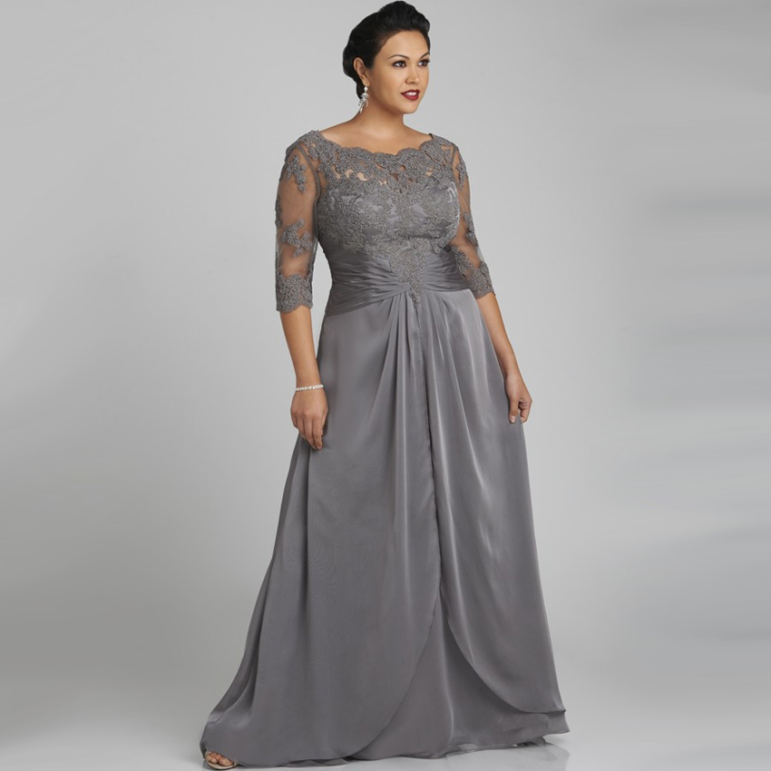 Plus Size   Evening     Dresses   Scoop With Lace Three Quarter Sleeve Grey Long Chiffon Vestido De Noche Free Shipping