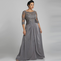 Plus Size Evening Dresses Scoop With Lace Three Quarter Sleeve Grey Long Chiffon Vestido De Noche Free Shipping