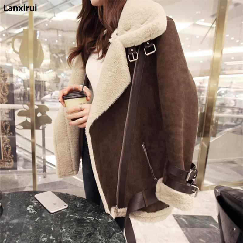 0aedf5db661c 2018 Winter High -Quality Jacket Female Suede Lamb Keep Warm Wool Coat  Motorcycle Lapels Coat