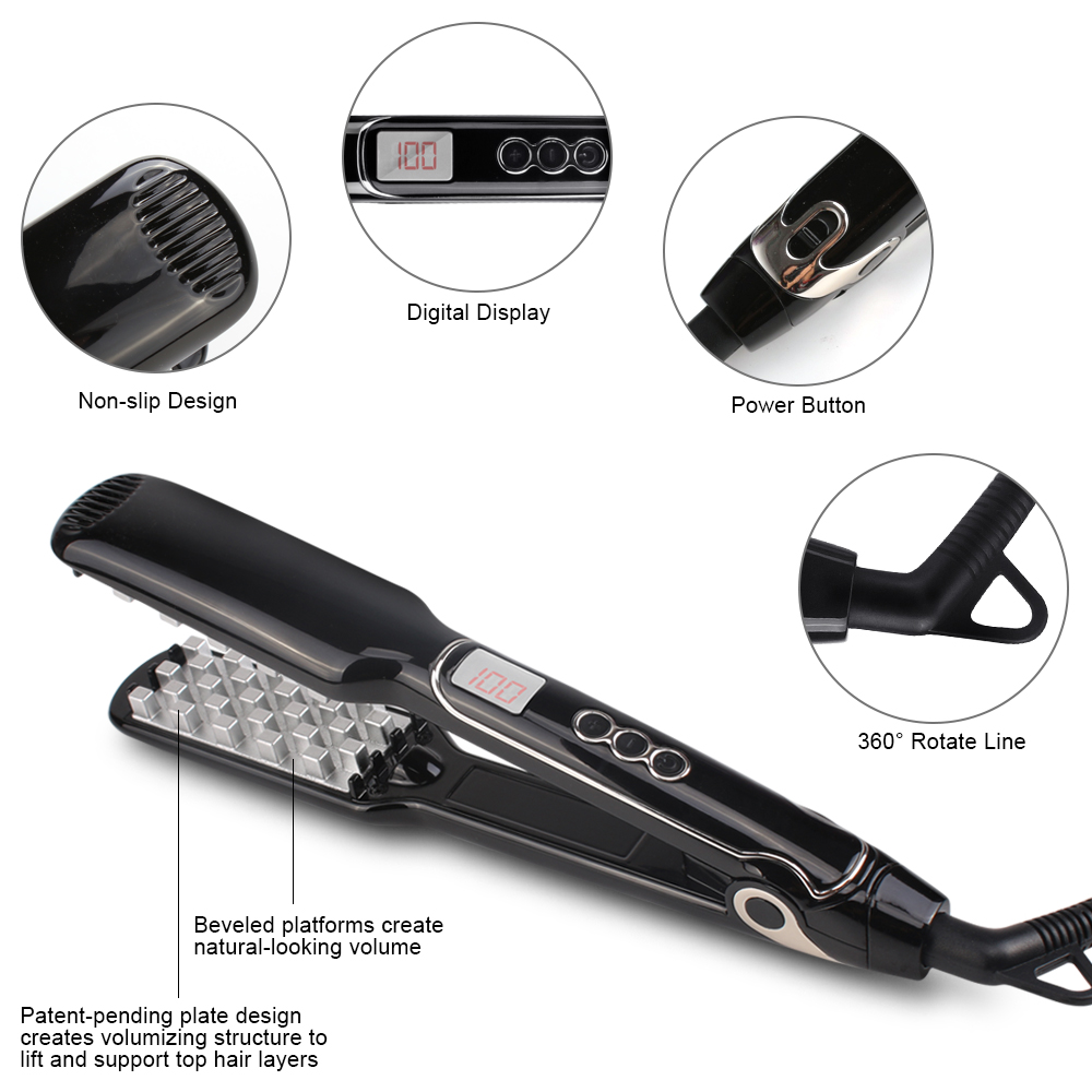 Led Display PTC Flat Iron Personalized Ceramic Volumizing Comb Hair iron Private Label Fast hair straightener iron цены