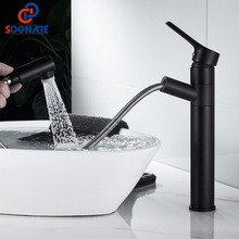 Pull Out Faucet Mixer Tap Hot Cold Water Tap for Bathroom Sink Faucet Balck Water Crane 360 Rotate Swivel Faucet Nozzle Torneira a1002 single ended table style angle faucet pure copper water nozzle laboratory water tap faucet