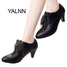 YALNN/Новые модные женские кожаные туфли на высоком каблуке винного и красного цвета, женские зимние офисные туфли на высоком каблуке, туфли лодочки для девушек