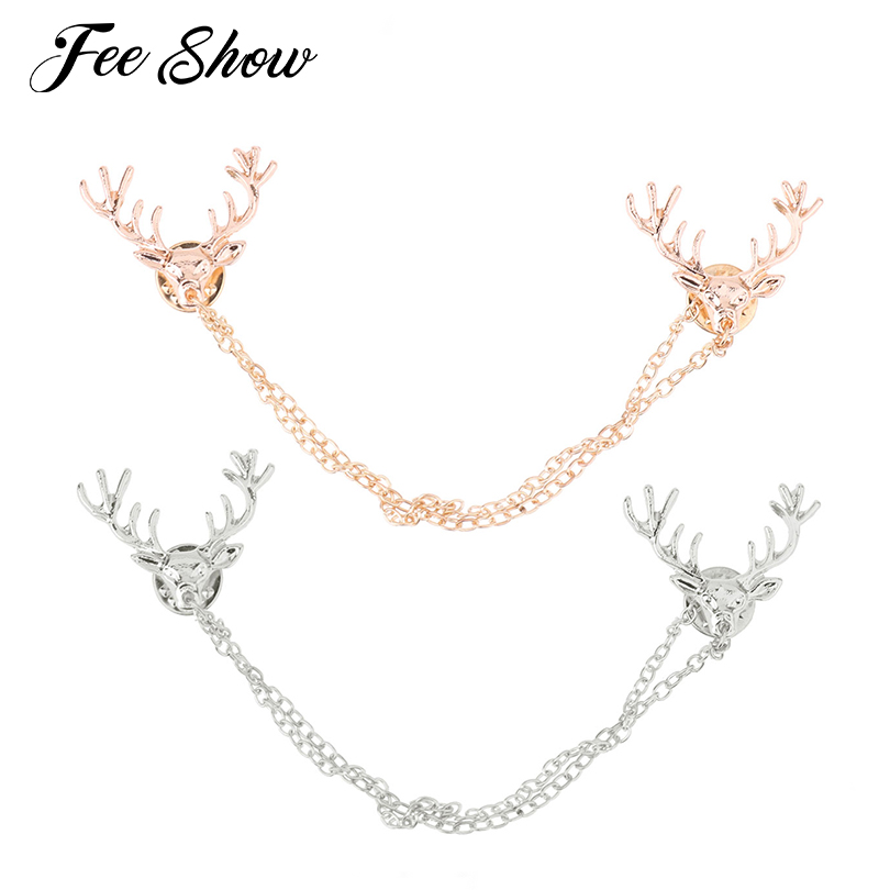 Fashion Unisex Deer Head Double Link Chains Tassels Collar Pin Brooch Sweater Shawl Clips Cardigan Collar Clip Holder Decoration