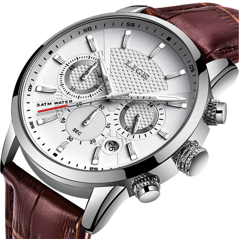 LIGE 2019 Novo Relógio Homens Relógio de Quartzo Dos Homens Do Esporte Da Forma Relógios De Couro Marca De Luxo Negócio Relógio À Prova D' Água Relogio masculino