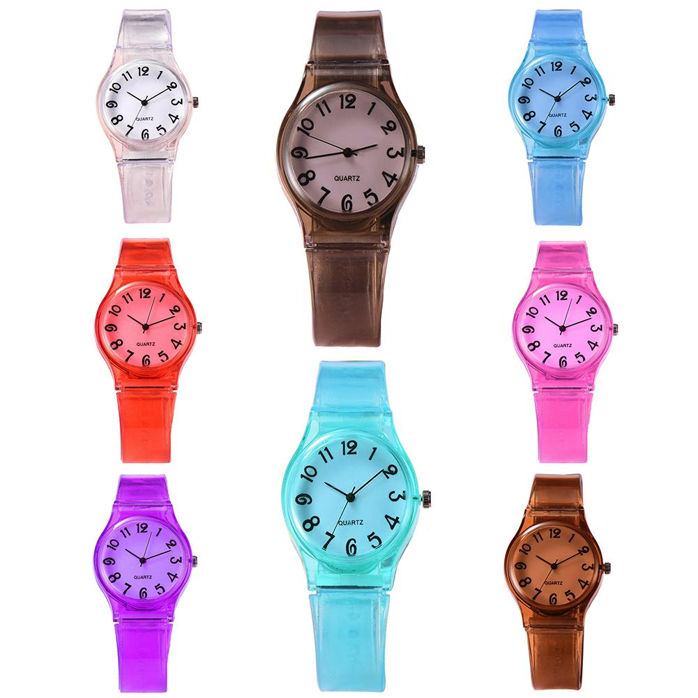 Children Candy Color Big Number Round Dial Silicone Band Quartz Wrist Watch Children's Silicone Straps Use School Travel Gifts