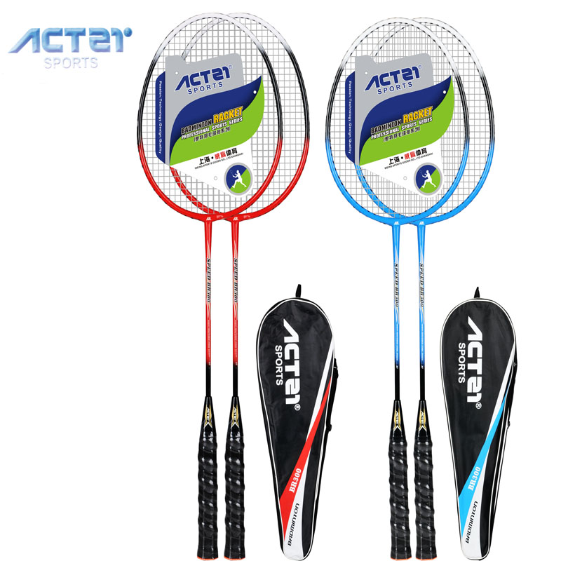 ACTEI BR300 Badminton Racket With Strings And Overgrip High Rebound Durable Light Weight Adults Badminton Racquet 1 Pair With Ba