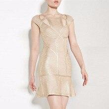 Promi Top Qualität Sleeveless Gold Bronze Foling Drucken Rayon Verband Kleid Cocktail-Party elegant Kleid