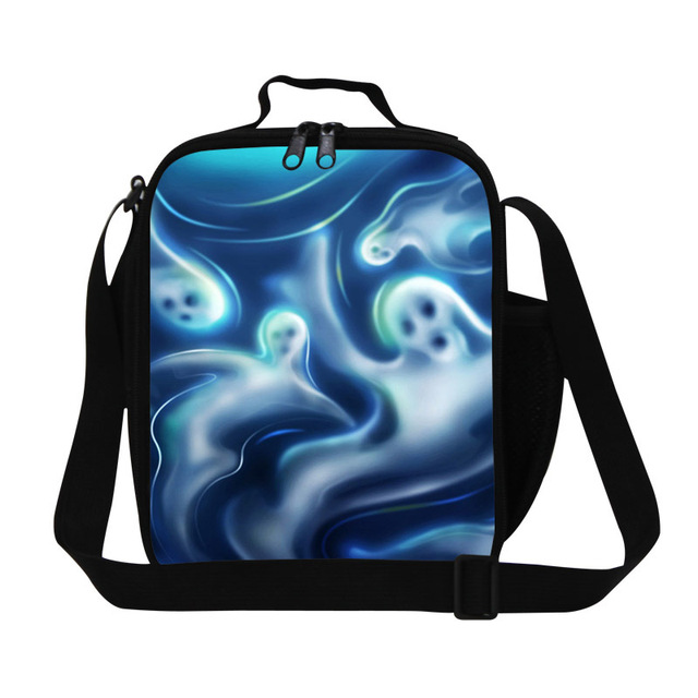 Dispalang Personalized Art 3D Print girls lunch bags students cooler bag womens food bags for work skull meal bags for teenagers