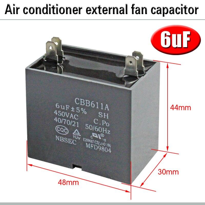 CBB61 кондиционер наружный вентилятор стартовый конденсатор с алюминиевой крышкой, 1,5/2/2,5/3/3,5/4/5/6/8 мкФ 450 вольтным и конденсатор с алюминиевой крышкой 4 вставки электромагнитный пускатель - Цвет: 6uF