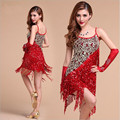 Latin Dance Dress Sexy Style Women Sequins Fringe Tassel Ladies Latin Tango Ballroom Salsa Costume Dancing Dresses Wholesale