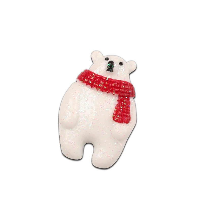 LF 10Pcs שרף חג המולד שלג דוב תיקון קישוט מלאכות Flatback קישוטי קבושון רעיונות אביזרים