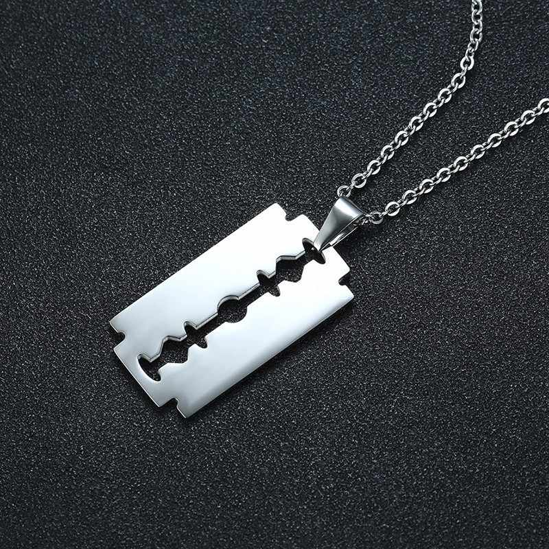 755c622864 Men's Silver Tone Razor Blade Pendant Necklace for Men Stainless Steel Male  Accessories Jewelry for Him with 20 or 24 inch