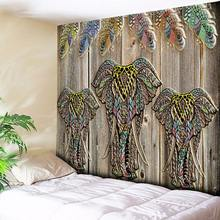 Elephant Wolf Tapestry Bohemian Mandala Wall Hanging Nordic Tribe Wood Home Decor Art Wall Tapestry Hippie Couch Blanket Cloth