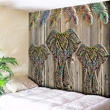 Elephant Wolf Tapestry Bohemian Mandala Wall Hanging Nordic Tribe Wood Home Decor Art Wall Tapestry Hippie Couch Blanket Cloth(China)