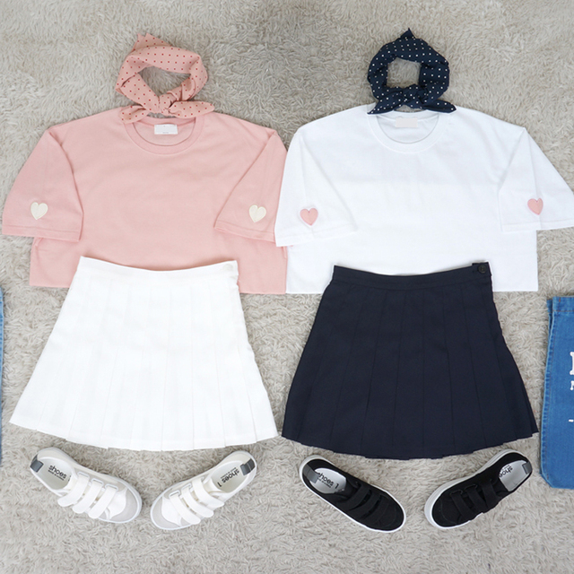 Women tops couple Ulzzang casual shirt women t-shirts 2017 plus size summer style korean Peach heart embroidery O neck T-shirt