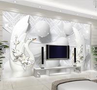 Free Shipping 3D Seamless Large Mural Wallpaper Wallpaper Garden Of Modern European Elegant White Swan 3D