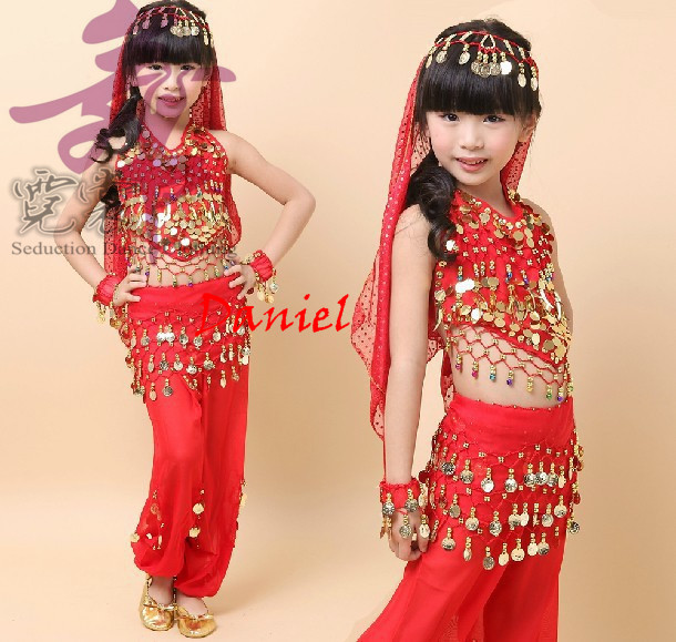 bellydance costume for girls (kids belly dance top+pants) bollywood dance costumes children