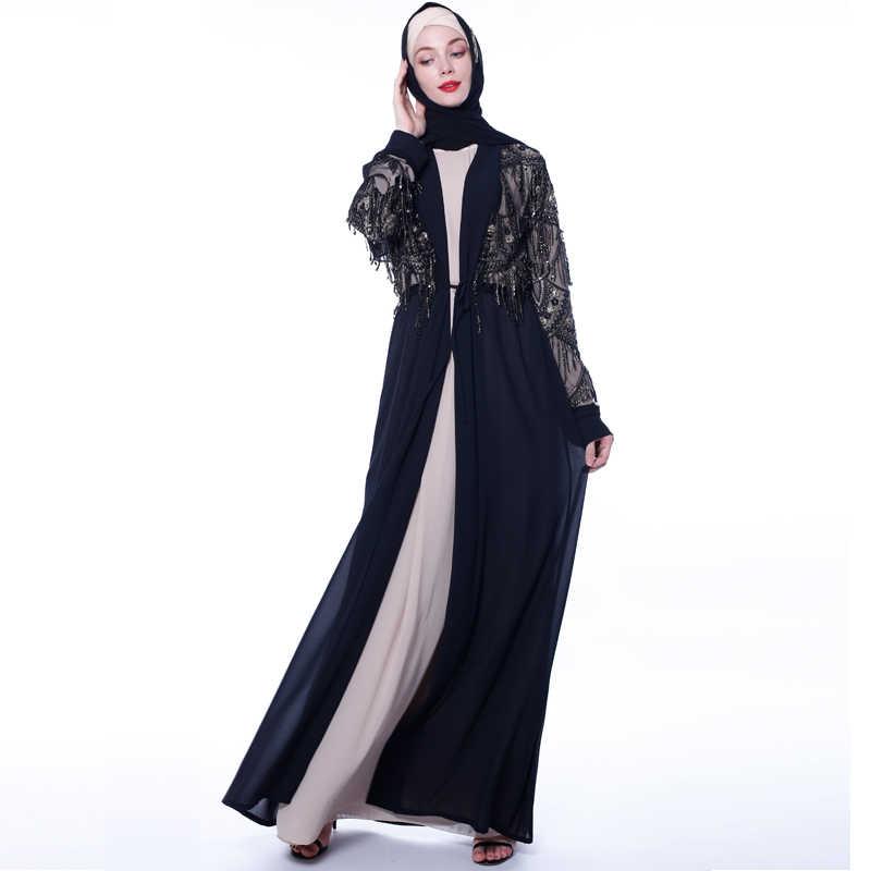Cekiny Tassel Abaya Kimono turecki dubaj muzułmaninem hidżab sukienka Kaftan sweter Abayas dla kobiet Kaftan islamski odzież szata Femme