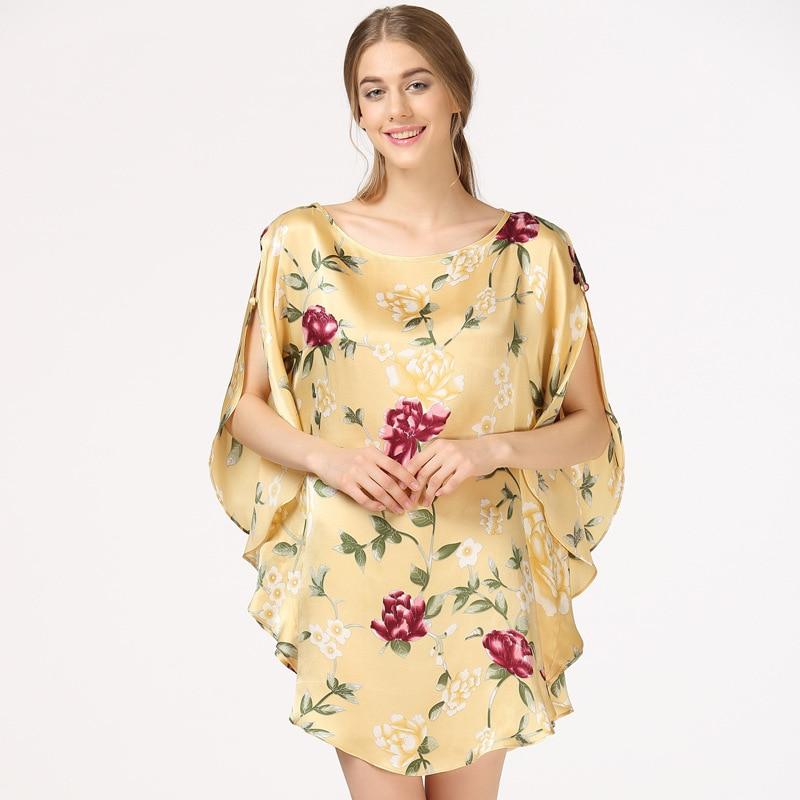 Summer Mulberry Silk Nightgown Sleepshirts Pregnant Women Sleepwear Lounge Casual 100% Silk Nightwear Maternity Pajamas CE825 lapel silk nightwear capri pajamas set