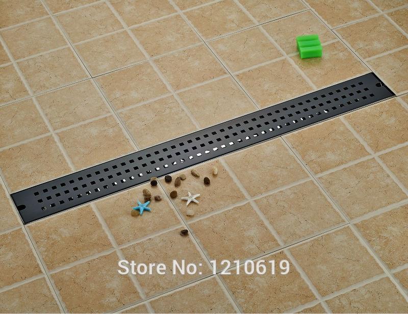 New Arrivel 90 10cm Black Floor Drain Ground Drainer Oil Rubbed Bronze Euro Style Rectangle Shower