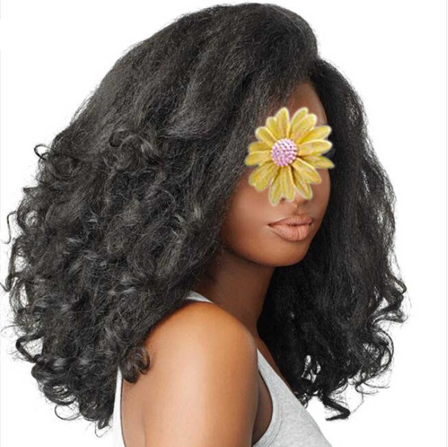 """Korte Afro Kinky Rechte Pruik 20 """"Synthetische Yaki Pluizige Pruik Afro-amerikaanse Natuurlijke Zwarte Hittebestendige Voor Vrouwen Gold schoonheid"""
