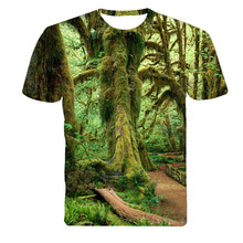2017 summer men's cultivate one's morality short sleeve T-shirt collar primeval forest natural scenery 3D printing short sleeve
