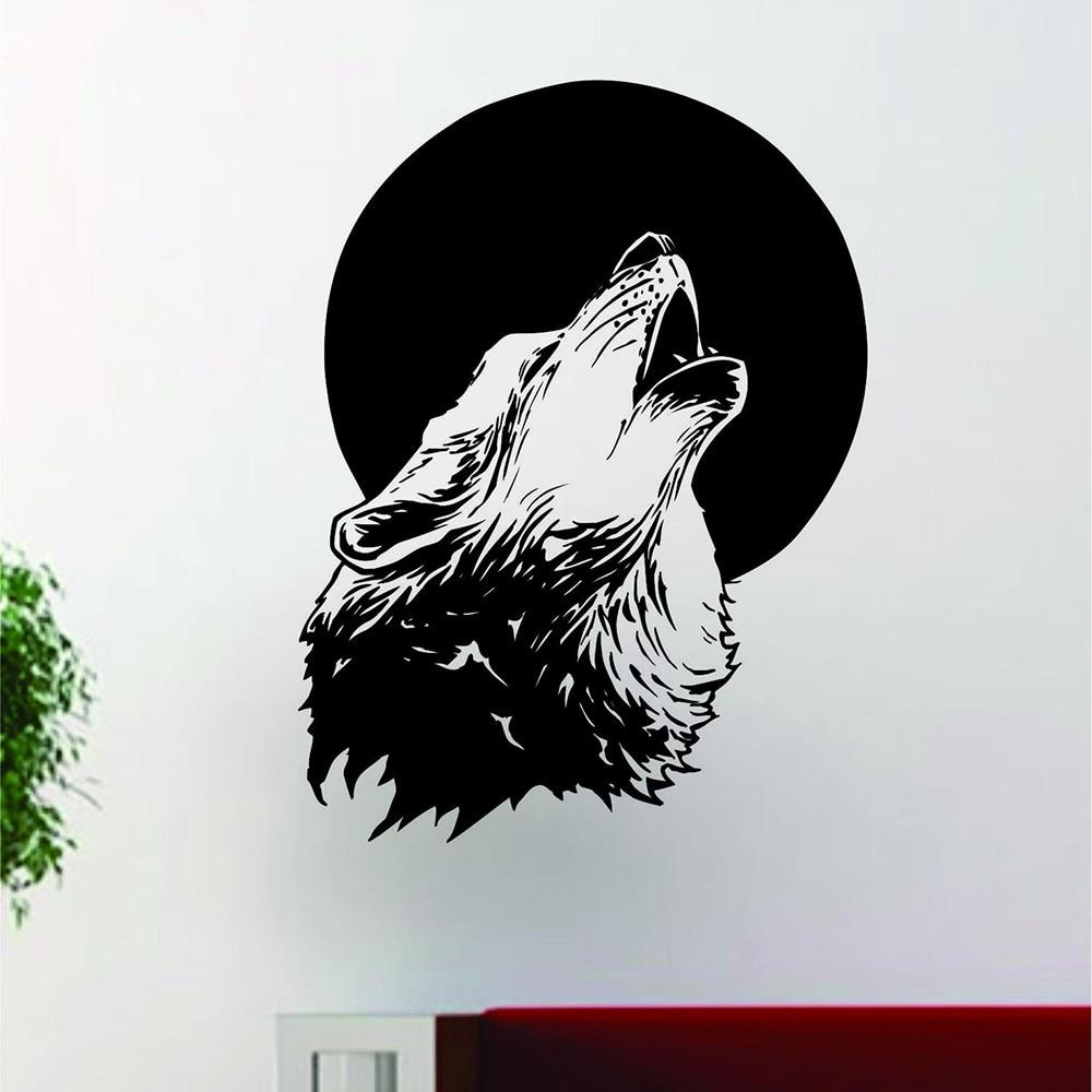 Moon Wolf Wall Stickers Birds Animal Wallpaper 3D Decals Mural Art Decor Room
