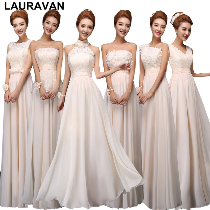 Champagne Colored Women Bridesmaids Dresses Bridesmaid One Shoulder Chiffon Long Gowns V Neck Wrap Dress For Guests Gown