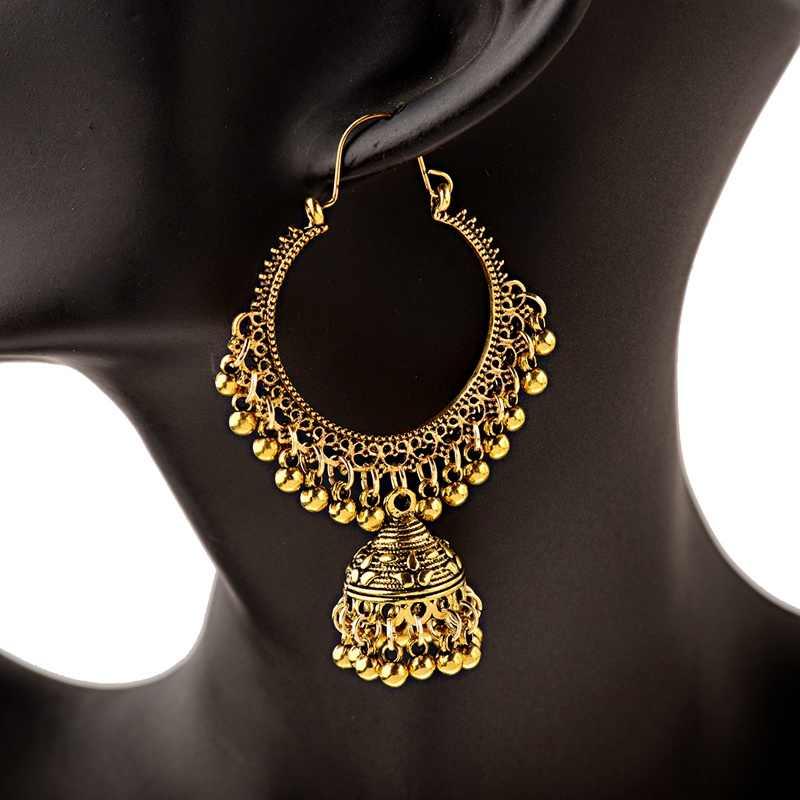2020 Klasik Wanita Bulat Besar Jhumka Jhumki Anting-Anting Perhiasan India Suku Vintage Etnis Bohemia BoHo Bell Rumbai Anting-Anting