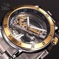 2017 Luxury Brand SHENHUA Tourbillon Automatic Mechanical Watch Men Transparent Skeleton Wristwatch Male Fashion Business Watch