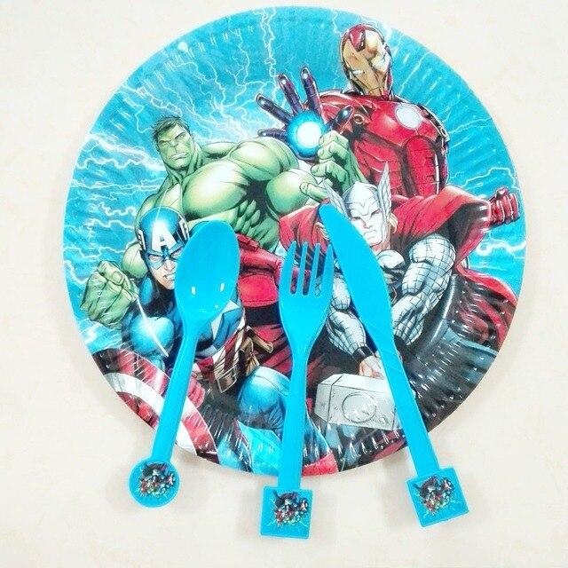 10pc knife10pc spoon 10pc Plastic Fork Avengers Cartoon Theme