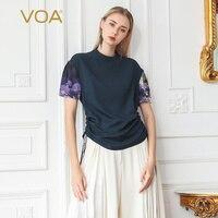 VOA тяжелый шелк детский топ Темно синие футболка Для женщин кисточкой Роскошные принтом Повседневное Винтаж Drawstring одежда большой Размеры
