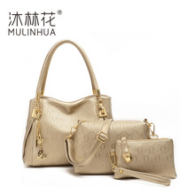 ONEFULL NEW FASHION 3PCS/SET women embossed floral composite bag eventing party casual handbag shoudler set