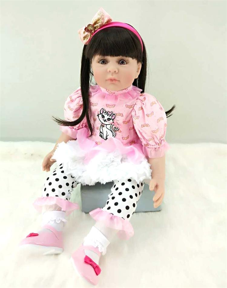 Moda princesa menina boneca renascer bebê 60cm macio silicone longo cabelo rosa vestido bonito adorável boneca reborn bebes para venda presente brinquedo - 4