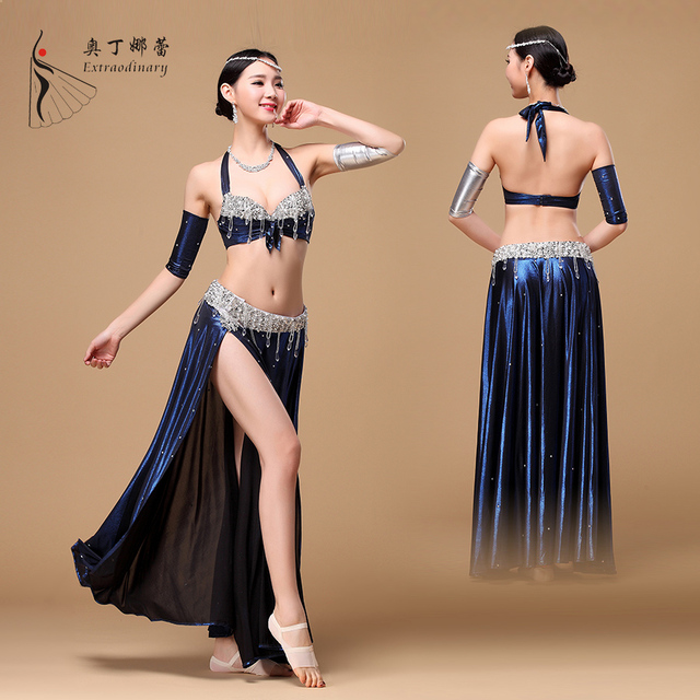 e83310dbdd1e3 Professional Belly Danse Robes Costumes Transparent Maille avec Strass Jupe  Fendue Femmes Flamenco Dress Mince